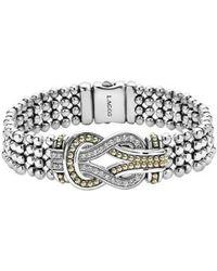 Lagos - 'newport' Diamond Knot Flat Caviar Bracelet - Lyst