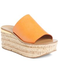 fed2855c479b Lyst - Chloé Camille Shearling Wedge Mules in Natural