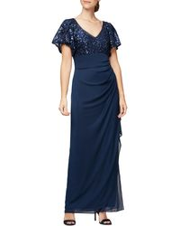 Alex Evenings Sequin Lace & Ruched Chiffon Gown - Blue