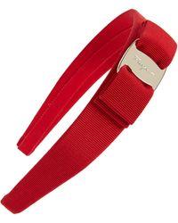 Ferragamo Vara Bow Grosgrain Headband - Red
