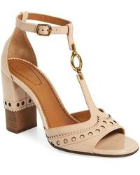 Chloé Perry T-strap Sandal - Natural