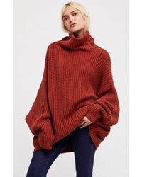 Free People Swim Too Deep Turtleneck Sweater - Red