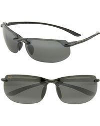 Maui Jim Banyans Polarizedplus2 67mm Rectangle Sunglasses - Gloss Black / Neutral Grey