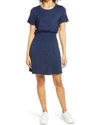 Bobeau Smocked Waist Dress - Blue