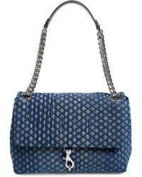 Rebecca Minkoff Maxi Edie Quilted Denim Shoulder Bag - Blue