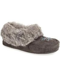 Manitobah Mukluks - 'kanada' Genuine Rabbit Fur & Suede Moccasin Slipper - Lyst