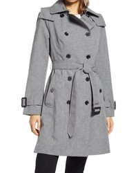 London Fog Double Breasted Hooded Raincoat - Gray