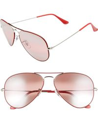 108fe43ba4716 Ray-Ban Clubmaster Sunglasses With Mirror Lens in Pink - Lyst