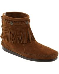 Minnetonka Hi Top Back Zip Boot - Black