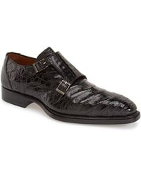 Mezlan 'prague' Genuine Crocodile Double Monk Strap Shoe - Black