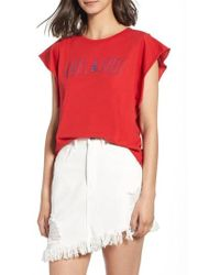 Project Social T - Oui Oui Embroidered Tee - Lyst