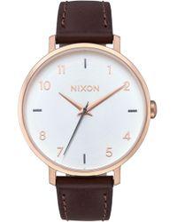 Nixon The Arrow Leather Strap Watch - Multicolour