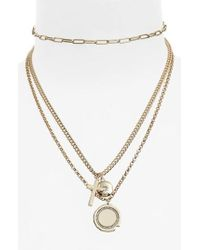 TOPSHOP - Multi-row Charm Necklace - Lyst