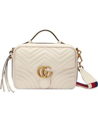 4603f4fd83b3 Gucci - Small Gg Marmont 2.0 Matelassé Leather Camera Bag With Webbed Strap  - Lyst