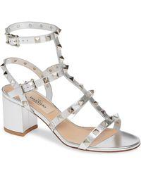 5573d6bfae1 Valentino - Rockstud Metallic Block Heel Sandal - Lyst