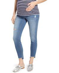 1822 Denim Step Hem Skinny Maternity Jeans - Blue