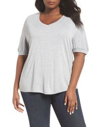 Sejour - V-neck Puff Sleeve Tee - Lyst