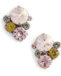 Sorrelli Army Girl Crystal Stud Earrings - Pink