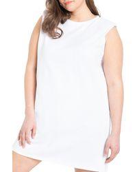 Eloquii Sleeveless Shift Dress - White