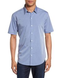 Zachary Prell - Diamond Print Short Sleeve Sport Shirt - Lyst