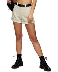 TOPSHOP Considered Sand Balloon High Waist Denim Shorts - Natural