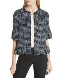 Kate Spade - Flounced Sleeve Tweed Jacket - Lyst