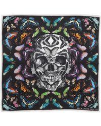 Alexander McQueen Skull & Rainbow Butterflies Print Silk Bandana - Black