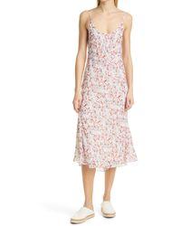 Rag & Bone Eva Floral Midi Slip Dress Viscose Dress - Pink