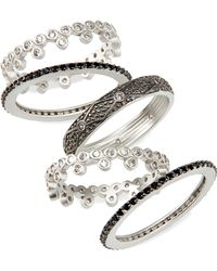 Freida Rothman - Industrial Finish 5-set Stackable Rings - Lyst