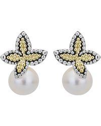 Lagos Luna Pearl Floral Cap Drop Earrings - Multicolour