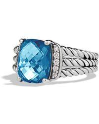 David Yurman Petite Wheaton Ring With Diamonds - Blue