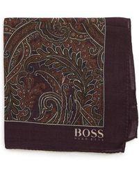 BOSS - Paisley Wool & Silk Pocket Square - Lyst