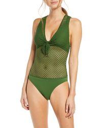 Robin Piccone Bo Crochet One-piece Swimsuit - Green