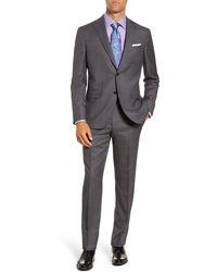 David Donahue Ryan Classic Fit Windowpane Wool Suit - Gray