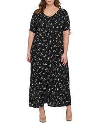 Michel Studio Floral Maxi Shirtdress (plus Size) - Black