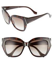 Balenciaga | 57mm Cat Eye Sunglasses - Dark Havana/ Gradient Green | Lyst