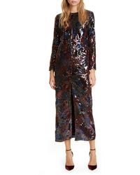 Roseanna Sequin Floral Print Long Sleeve Midi Dress - Multicolor