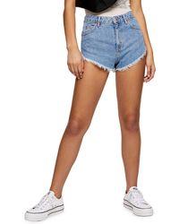 TOPSHOP Kiri Frayed Denim Shorts - Blue