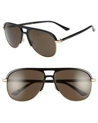 56a11ae9506 Gucci 61mm Polarized Aviator Sunglasses in Black for Men - Lyst