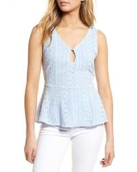 Cupcakes And Cashmere - Brian Embroidered Peplum Tank - Lyst