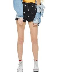 TOPSHOP | Floral Embroidered Mom Shorts | Lyst