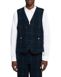 Woolrich Wool Plaid Hunting Vest - Blue