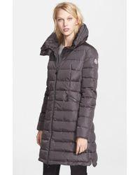 Moncler 'flamme' Pillow Collar Down Coat - Gray