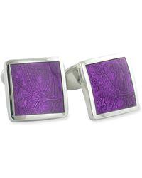 David Donahue Sterling Silver Cuff Links - Purple