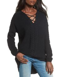 Love By Design - Cross Front Braided Sweater - Lyst