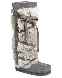 Manitobah Mukluks - Genuine Rabbit Fur Tall Wrap Boot - Lyst