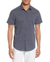 Vince Camuto - Slim Fit Geometric Short Sleeve Sport Shirt - Lyst
