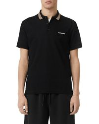 Burberry Icon Stripe Detail Cotton Piqué Polo Shirt - Black