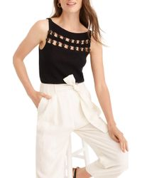 J.Crew Point Sur Knit Tank Sweater With Wood Bead Detail - Black