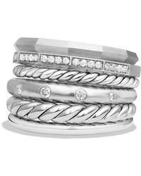 David Yurman - Stax Wide Ring With Diamonds - Lyst